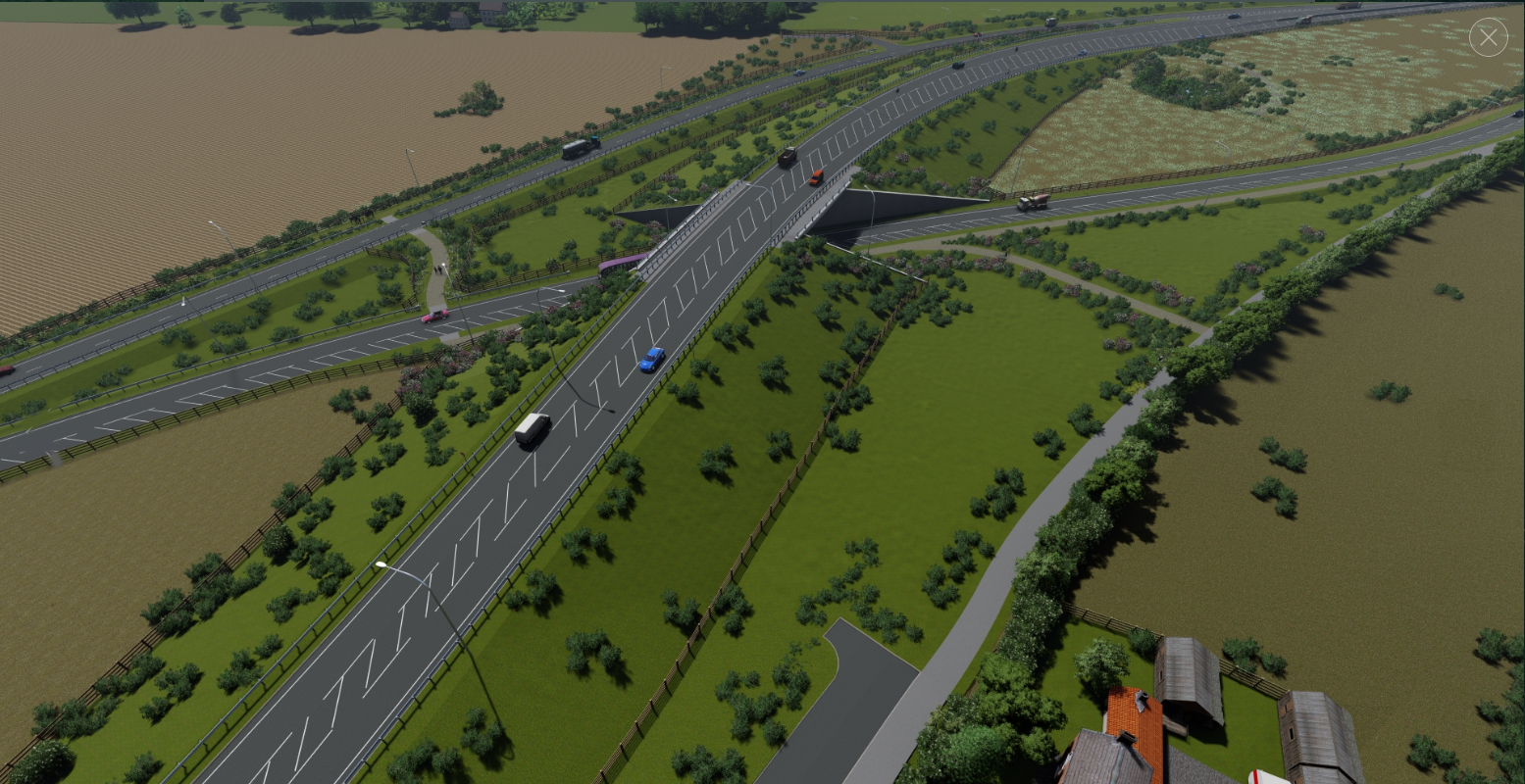 Aerial view of the new A164 bridge passing over the A1079