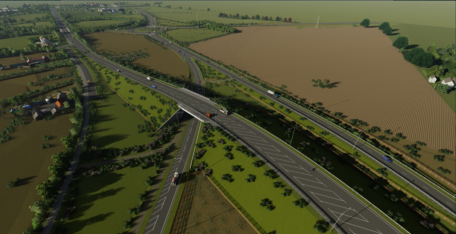 Aerial view of the new A164 bridge passing over the A1079 looking north towards Jocks Lodge