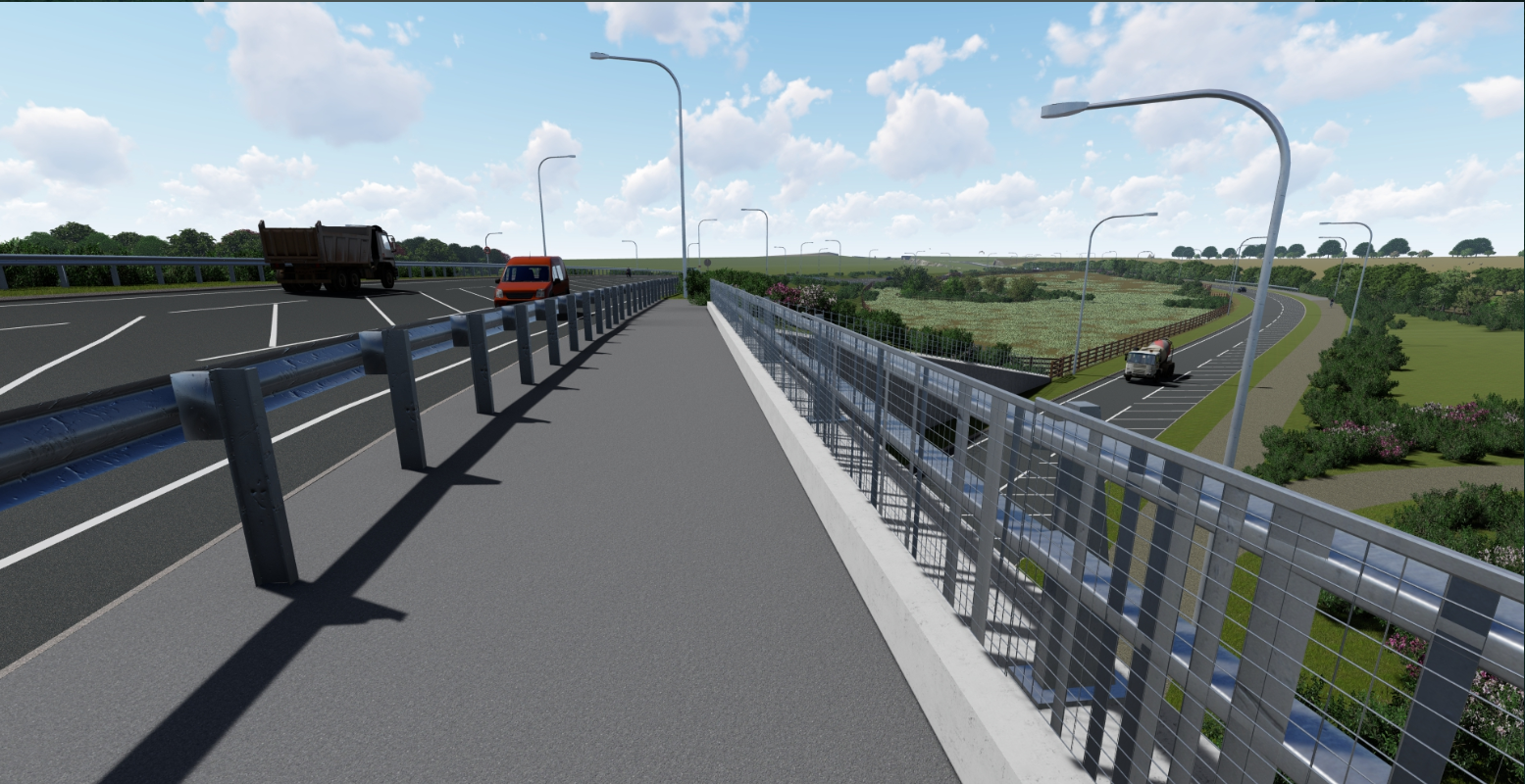View on the new A164 bridge