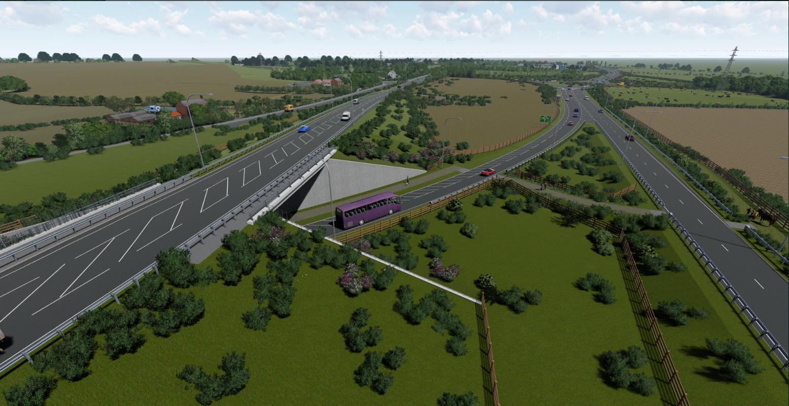 View of the new A164 bridge passing over the A1079 looking north towards Jocks Lodge