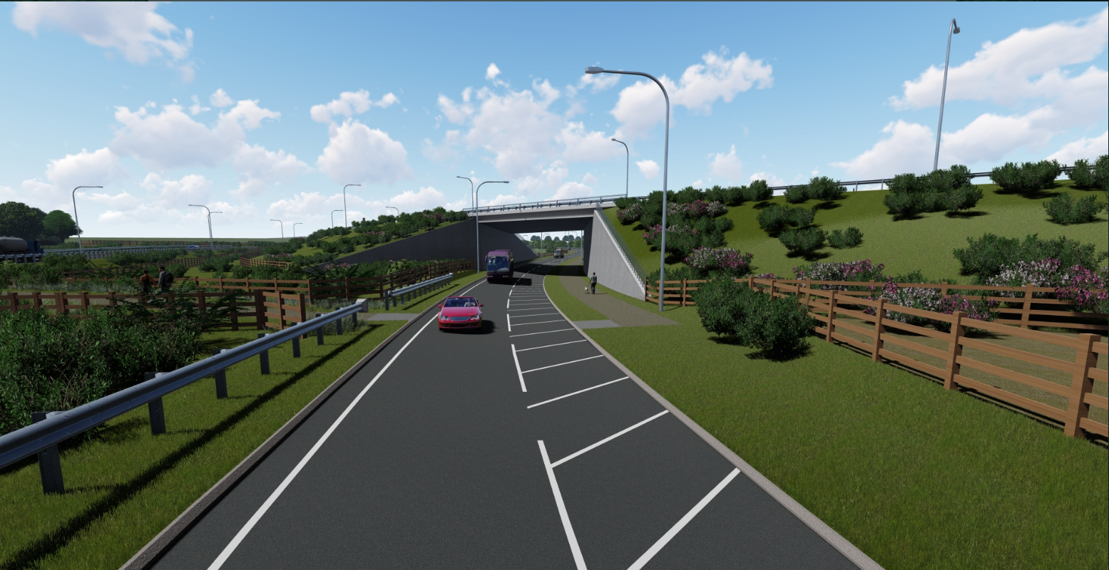View of the A1079 slip road passing under the new A164 bridge