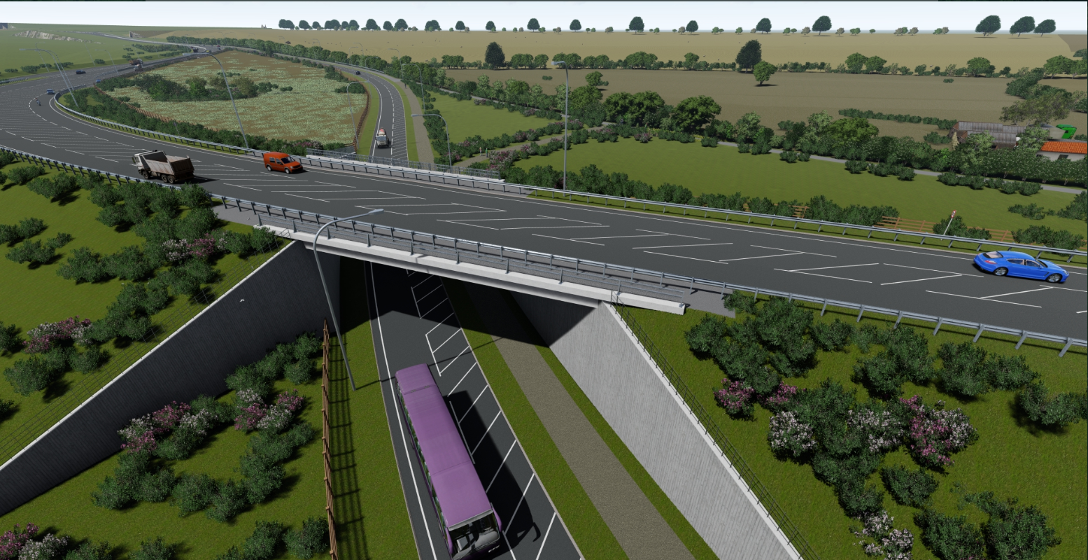View of the new A164 bridge passing over the A1079