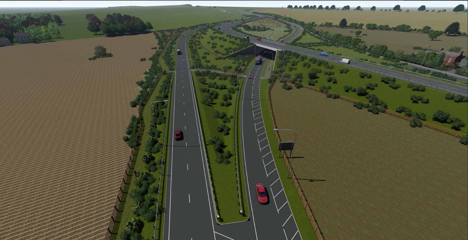 View of the new A164 bridge passing over the A1079 looking south towards the A164-A1079 merge