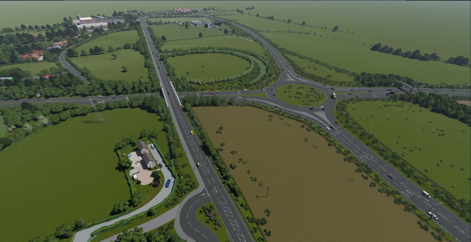 Aerial view of the A164 at Jocks Lodge and new roundabout on the A1079 looking north towards Victoria Road
