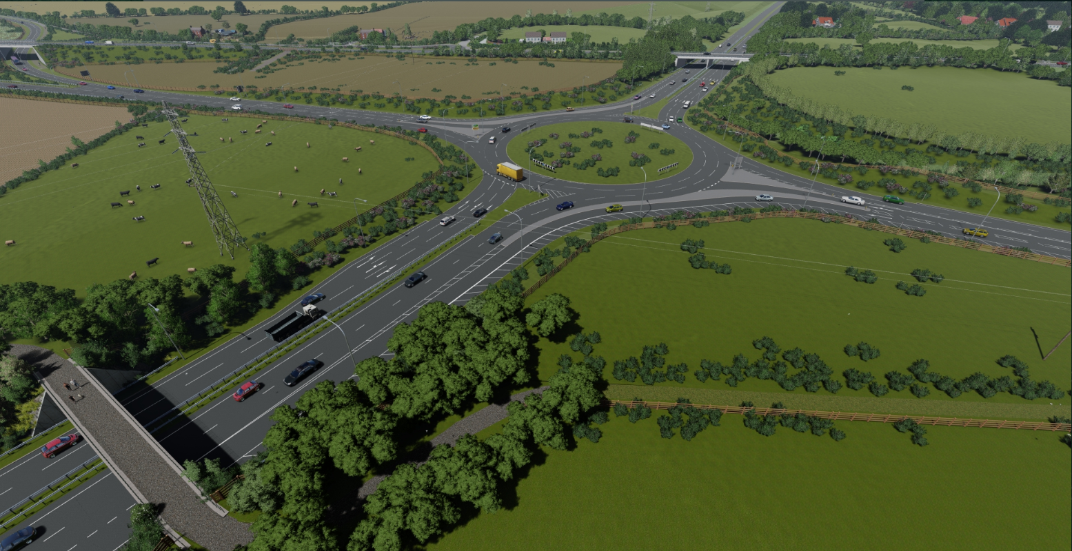 Aerial view of the new A1079 roundabout