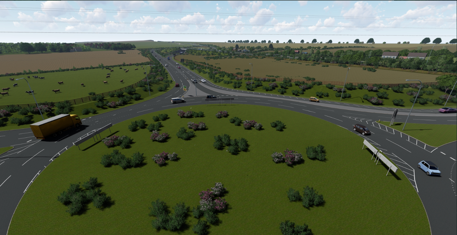 View of the new A1079 roundabout looking south towards the A164-A1079 merge