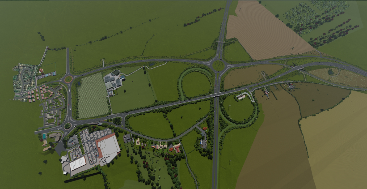 Aerial view of the proposed A164 Jocks Lodge Improvement Scheme at Jocks Lodge