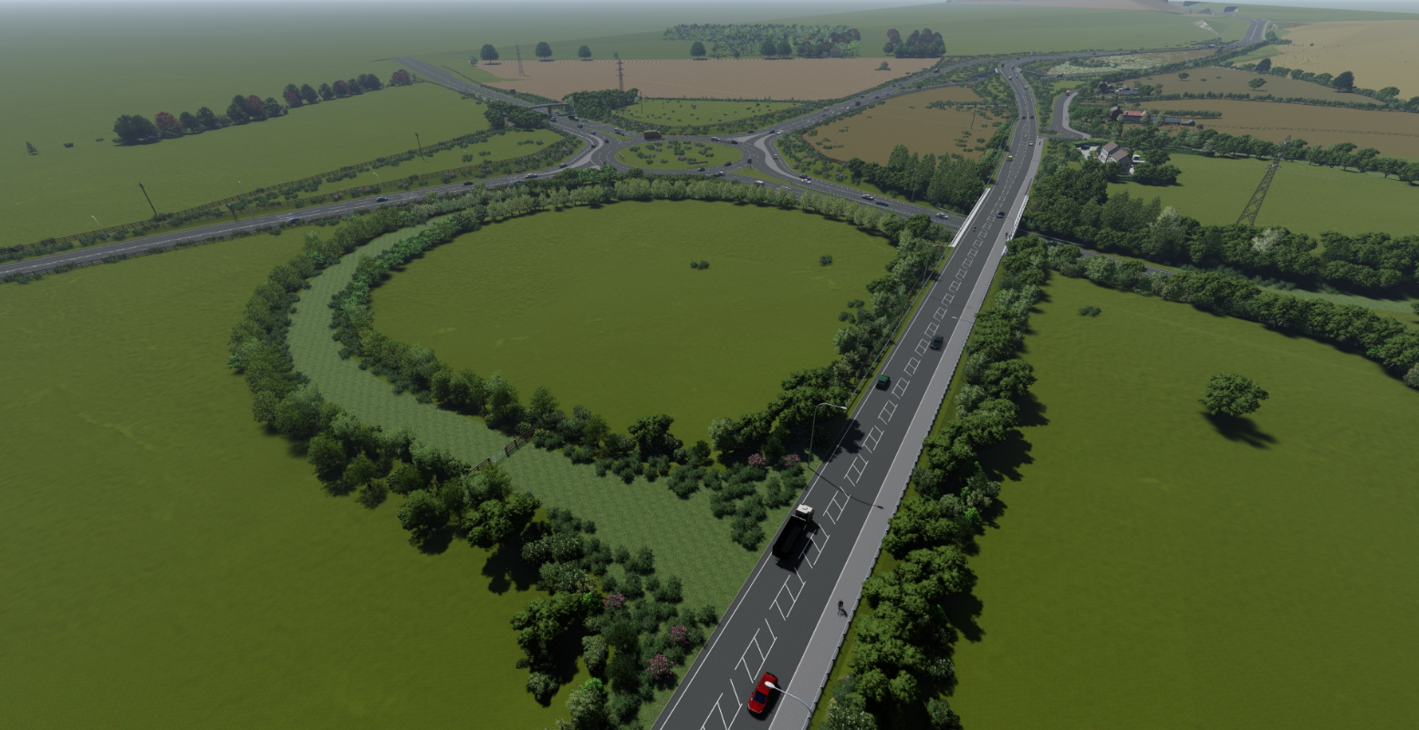 Aerial view of the A164 passing over the A1079 at Jocks Lodge