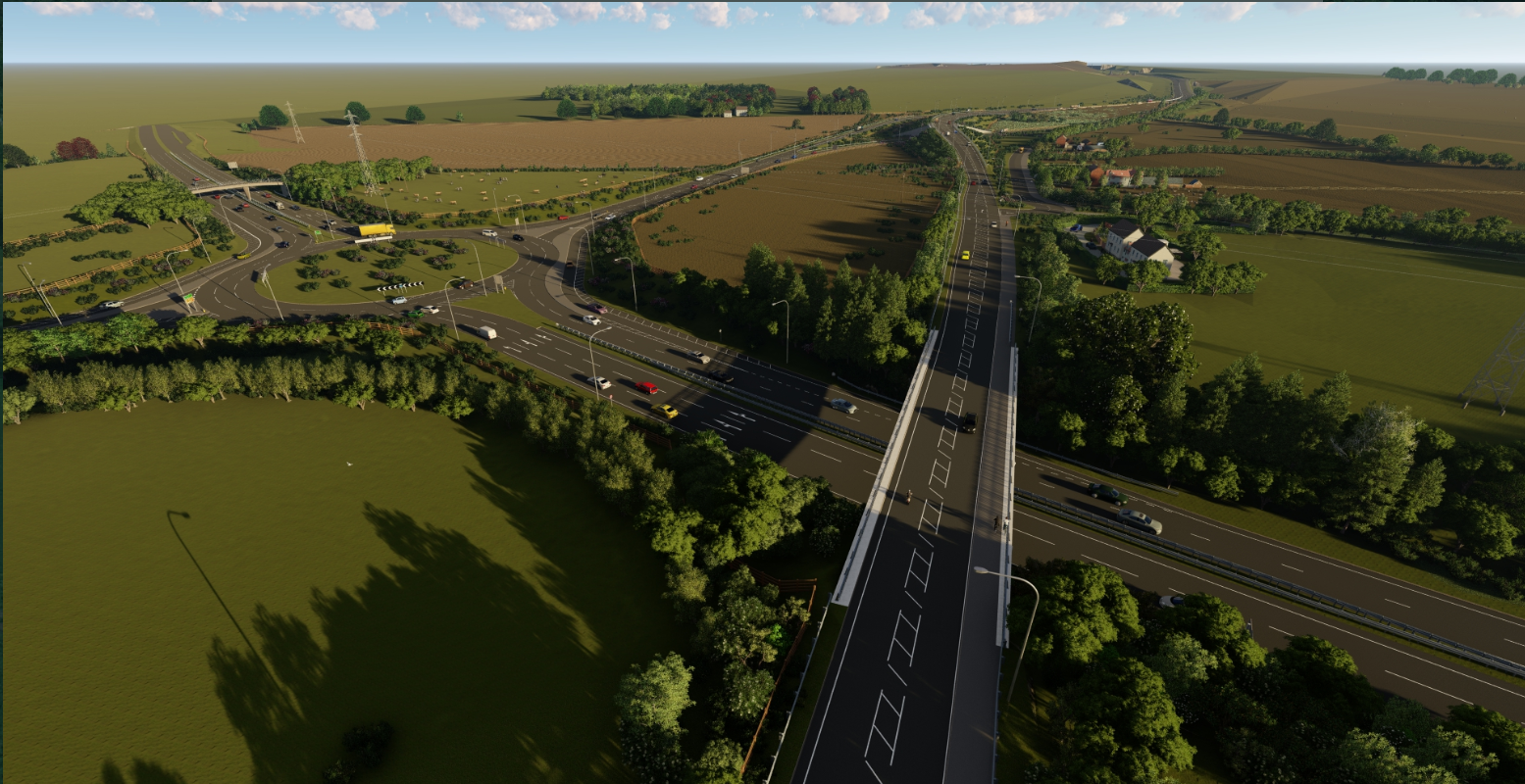 Aerial view of the A164 passing over the A1079 at Jocks Lodge and the new roundabout on the A1079